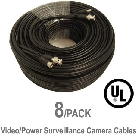 8 Pack UL Listed 25 ft Feet Professional Grade RG59 siamese combo cable for TVI AHD and HD-SDI camera system with BNC connectors and 2.1mm power jack for plug and play connections CVI
