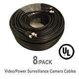 8 Pack UL Listed 100 ft Feet Professional Grade RG59 siamese combo cable for TVI, CVI, AHD and HD-SDI camera system with BNC connectors and 2.1mm power jack for plug and play connections
