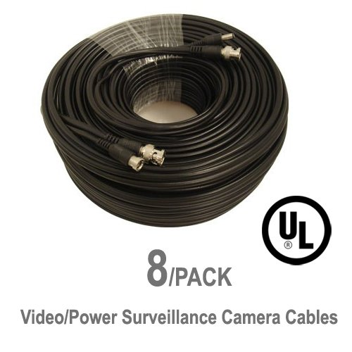 8 Pack UL Listed 100 ft Feet Professional Grade RG59 siamese combo cable for TVI, CVI, AHD and HD-SDI camera system with BNC connectors and 2.1mm power jack for plug and play connections by 5 Star Cable