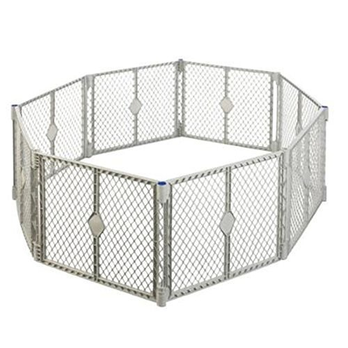 Big 8 Panel Wide Super Playpen Play Yard Baby Pet Dog Enclosure Gate Large Pen (Gray) by Playards