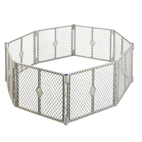 Big 8 Panel Wide Super Playpen Play Yard Baby Pet Dog Enclosure Gate Large Pen (Gray) by Playards
