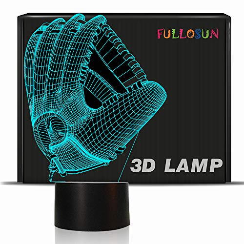 FULLOSUN Baseball Glove 3D Optical Illusion Night Light, 7 Colors Changing, Smart Touch Button USB Powered, Amazing Creative Art Design for Home Decor Xmas Gift -