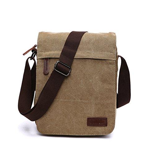 NANJUN Vintage Canvas Messenger Bag Shoulder Bags for Men Women(jb007-Khaki-s)