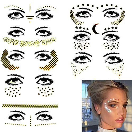 Bumble Bee Face Makeup For Halloween (8 Sets Face Tattoo Sticker Metallic Shiny Temporary Water Transfer Tattoo for Professional Make Up Dancer Costume Parties Musical)