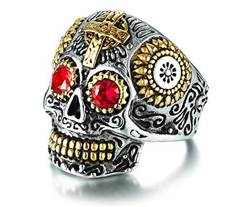 Rinspyre Men's Stainless Steel Silver Gold Gothic Cross Skull Ring Vintage Flower Carved Halloween Red Eye Size -