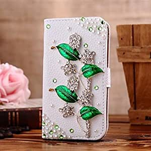 TOPAA Diamond Green Leaf PU Leather Full Body Case with Stand and Card Slot for iPhone 5/5S