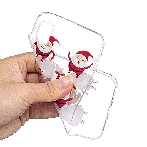 iPhone X Custodia , Moda 6 Babbo Natale Silicone leggero Morbido TPU Sollievo Sottile Protezione Antiurto Copertura Antiscivolo Resistente Coperture Cover Case Custodia per Apple iPhone X