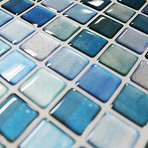 BEAUSTILE Decorative Tile Stickers Peel and Stick Backsplash Fire Retardant Tile Sheet (10pcs) (N.Blue) by BEAUS TILE (Image #2)