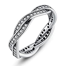 PAHALA Silver Plated Queen Twist With Crystals Cubic Zirconia Pave Wedding Engagement Band Ring