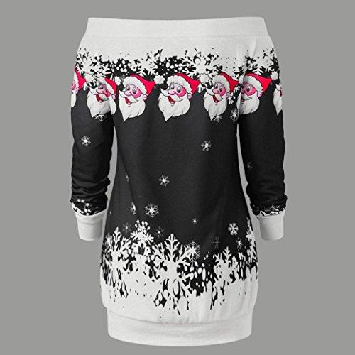 Natale Natale Nero Cappuccio con Felpa Felpa da Spalline Rcool Donna con Sexy Maniche Felpa Lunghe Senza Puntino Cerniera Donna qUatS