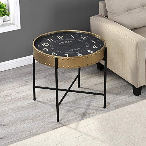 FirsTime Co. Gold Clockwork Accent Table, American Crafted, Aged Gold, 26 x 26 x 23 ,