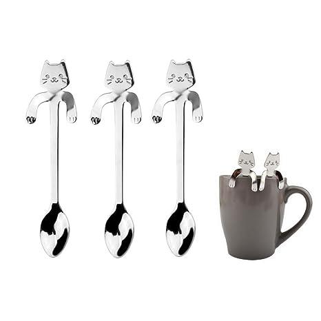 3 cucharillas de café con diseño de gato, de acero inoxidable, para colgar