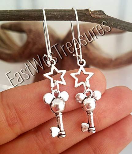 Steel Disney Inspired Mickey Mouse Key ears Star Disney key drop earrings-Mickey Mouse earrings for women - Earrings Star Disney
