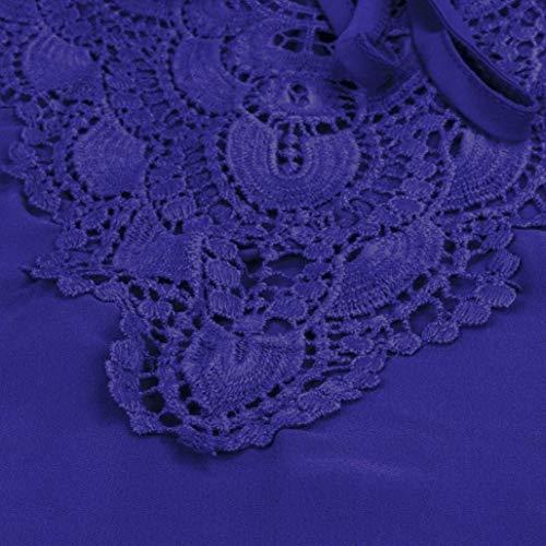 pissure Top Et Shirts V Bandage lgant Style Courtes Dentelle Blusen Cou Mode Blau Casual Manches Chemise Spcial Confortable Shirt Mince Femme Irrgulier awRqE8xd