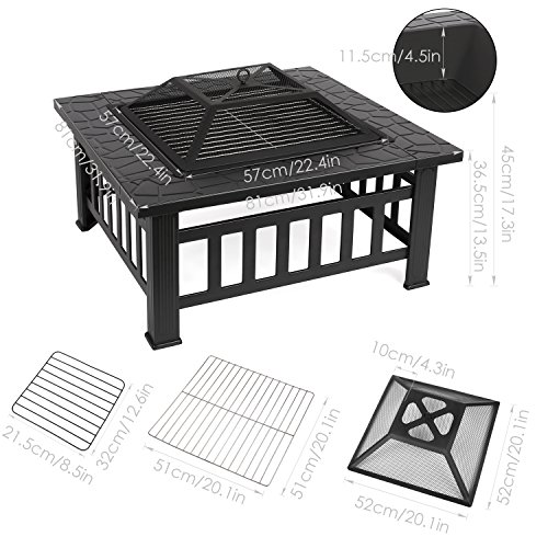Amazon.com: FIXKIT Fire Pit Table Outdoor with BBQ Grill Shelf, Multifunctional Garden Terrace Fire Bowl Heater/BBQ/Ice Pit, 32