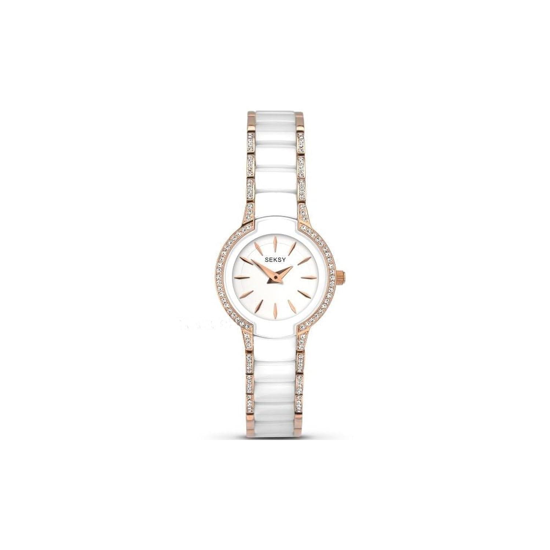 Seksy by Sekonda Entice Damen weiß Zifferblatt Keramik Stein Set Armband Uhr 2381