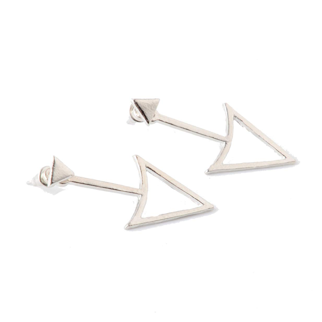LALANG Simple Personality Geometric Triangle Design Earrings Ladies Ear Accessories(Silver)