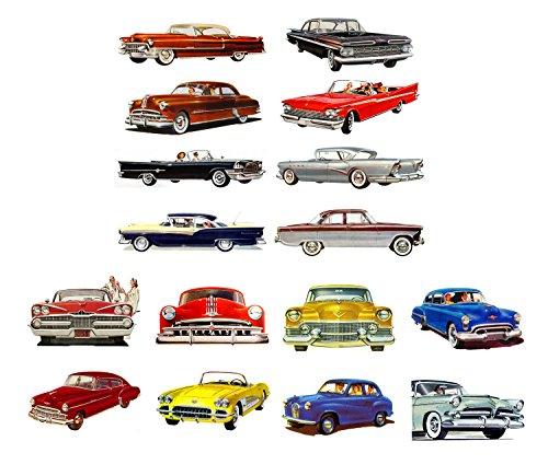"Decoupage Paper Pack (10sheets A4 / 8""x12"") Classic Cars America Golden Era Sixties FLONZ Vintage Paper"