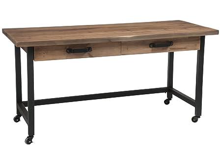 Bureau dolomite tiroirs bois métal noir amazon küche haushalt