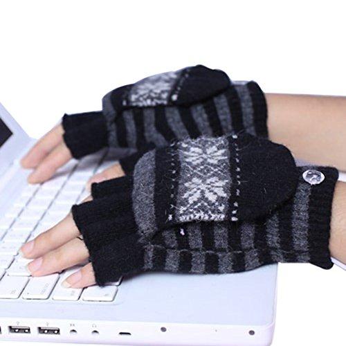 Price comparison product image Eforstore USB Heated Gloves Warming Hand Warmer Powered Winter Warm Half & Full Finger Mittens for Women Men Girls Boys (Black)