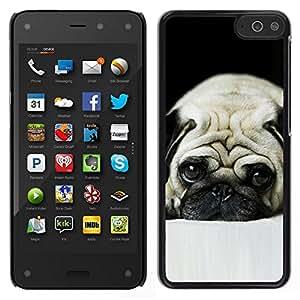 EJOY---Cubierta de la caja de protección para la piel dura ** Amazon Fire Phone ** --Pug perro triste observa mascotas Cute Puppy
