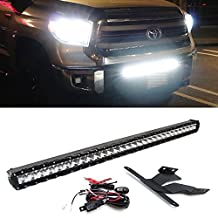 "iJDMTOY 31.5"" 150W High Power Combo Spot Osram LED Light Bar w/ Lower Bumper Area Mounting Brackets & Relay Wire Switch For 2005-up Toyota Tacoma and 2014-up Toyota Tundra"