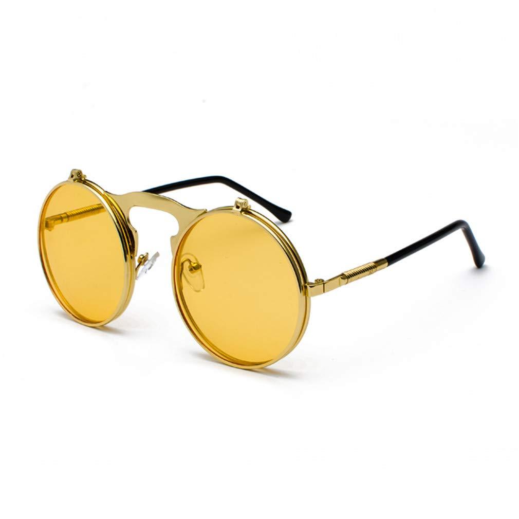 159779169db Amazon.com  Retro Steam Punk Sunglasses Round Flip Up Metal Frame Glasses  Ocean Red Lens Steampunk Sun Glasses Women Men CC1060 C1 Gold red  Sports    ...