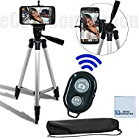 50 Inch Aluminum Camera Tripod + Universal Tripod Smartphone Mount + Bluetooth Wireless Remote Control Camera Shutter For LG G3, LG G FLEX 2, LG G FLEX, LG G2, LG NEXUS 5, Motorola Nexus 6, Motorola Droid Turbo, Motorola Moto G, Motorola Moto X (2nd Generation), Motorola Moto X Pro, Motorola Moto G, Motorola Moto X and Many More Smartphones + eCost Microfiber Cleaning Cloth