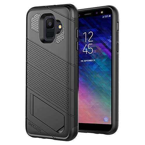 Shockbox Commander Series - Shock Resistant Technology Dual Layer Kickstand 10ft Drop Tested Case for Samsung Galaxy A6 - Retail Packaging (Black) ()