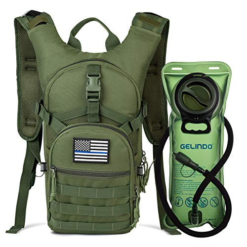 Gelindo Military Tactical Hydration Backpack with 2L Water Bladder Light Weight MOLLE Tactical Assault Pack for Hiking Biking Running Walking Climbing Outdoor Travel(Green)