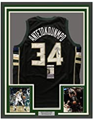 Framed Autographed Signed Giannis Antetokounmpo 33x42 Milwaukee Black  Custom Basketball Jersey JSA COA f36163681