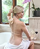 Best Body Brush Exfoliation System for Dry Skin Brushing, Includes Exfoliating Gloves & Konjac Face Sponge, Reduce Cellulite & Boost Lymphatic System, Back Massager Scrubber with Natural Boar Bristle