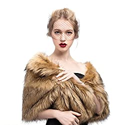 MISSYDRESS Women's Wedding Bridal Faux Fur Shawl/Stole/Wrap for Dress/Party Brown S