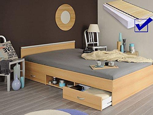 Jugendbett Bett 140x200 Cm Buche Lattenrost Matratze