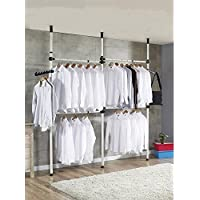 3 Poles 4 Bars Coat Hanger Portable Indoor Garment Rack Tools DIY Clothes Wardrobe