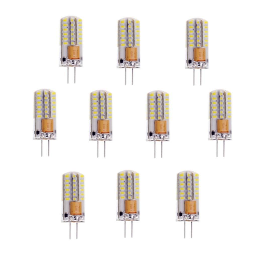 NANGE G4 LED Bulbs,3Watt 12V, 48 LED Light Bulbs,of 220Lumens 3014 SMD Light Lamp[Energy Class A+] 10packs (Color : Cool White, Size : AC12V) by NANGE