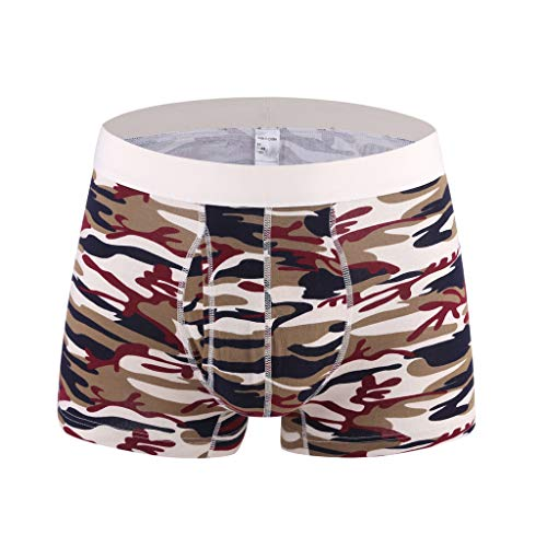 Landscap_Men Boxer Briefs Solid Stripe Camouflage Comfortable 100% Cotton Underwear Plus Size Underpants (Khaki,L)