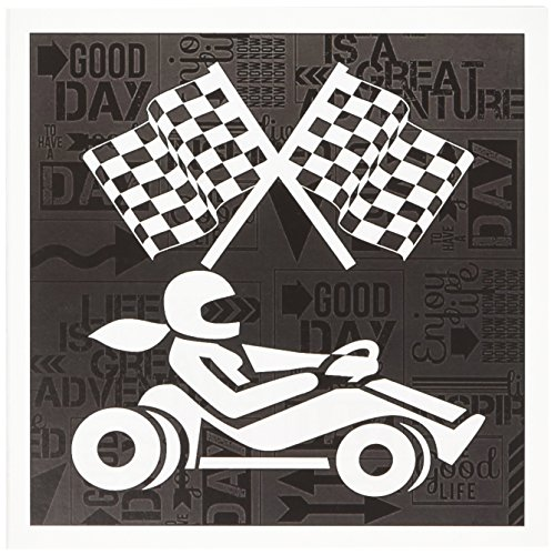 3dRose Greeting Cards, Black and White, 6 x 6 Inches, Go-Cart Racer Checkered Flags (gc_173210_2)