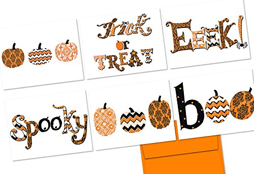 Patterned Pumpkins - 36 Note Cards - 6 Designs - Blank Cards - Tangerine Zest Envelopes Included