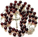 elegantmedical Handmade Garnet Gemstone Bead Catholic Sterling 925 Silver 5 Decade Rosary Cross Crucifix Necklace Womens/Girls
