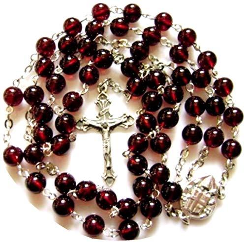 elegantmedical Handmade Garnet Gemstone Bead Catholic Sterling 925 Silver 5 Decade Rosary Cross Crucifix Necklace Womens/Girls -