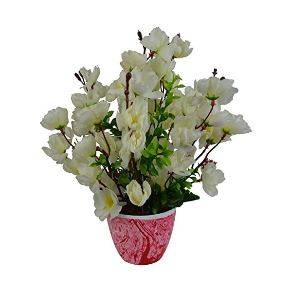 Artificial Blossom Flower Plant Arrangement in Marble Pot Fancy Mart