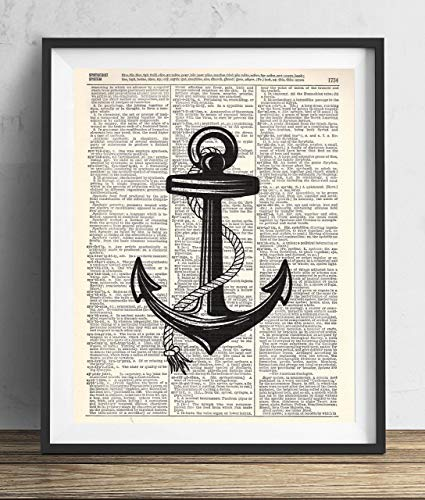 Black Anchor Upcycled Vintage Dictionary Art Print 8x10