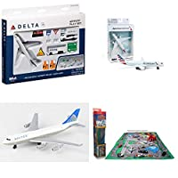 "Toy Airplane Playset - Airport Playmat with Three 5.5"" Diecast Model Planes & Accessories - Delta, American, United Airlines"