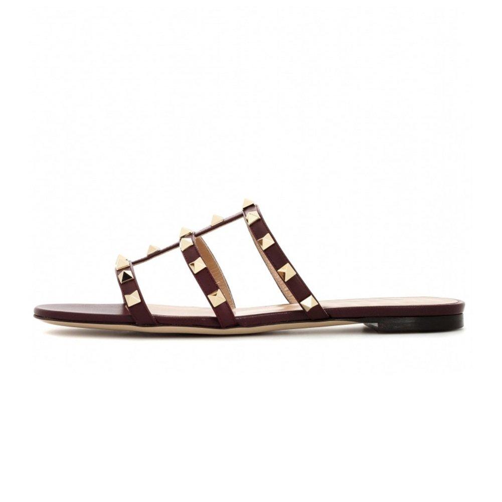 VOCOSI Women's Flat Heel Sandals with Rivets Slide Slipper Dress for Casual Summer Burgundy 9 US