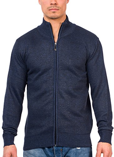 TR Fashion Men's Long Sleeve Soft Casual Full Front Zip Cardigan Sweater (Marled Navy, X-Large) (Sweaters Zip Front)