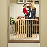 Tall Stairway Swing Gate 28''-42'', Top of Stairs Baby Gate, Includes Mounting Kit, Natural Wood