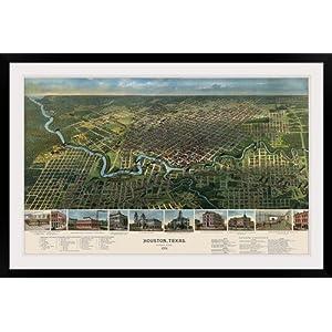 "GreatBIGCanvas ""Vintage Birds Eye View Map of Houston, Texas"" Photographic Print with Black Frame, 48"" x 30"""