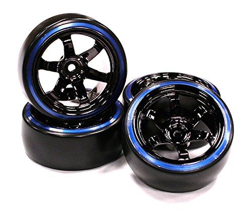Integy RC Model Hop-ups C23624BLUE Black Color 6 Spoke Wheel w/ Outer Ring + Drift Tire (4) Set (Revo Ring)
