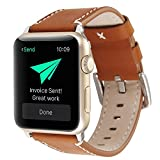 Teepao Replacement Bands for Apple Watch 1 & 2 Genuine Leather Buttermilk Skin Strap for IWatch 42mm 38mm